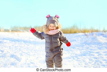 peu, hiver, neige, jouer, gai, enfant, jour