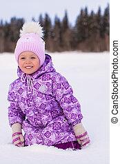 peu, hiver, séance, ensoleillé, neige, girl, adorable, jour, heureux