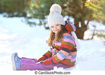 peu, hiver, séance, neige, avoir, enfant, amusement, jour