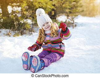 peu, hiver, séance, neige, enfant, amusement, avoir