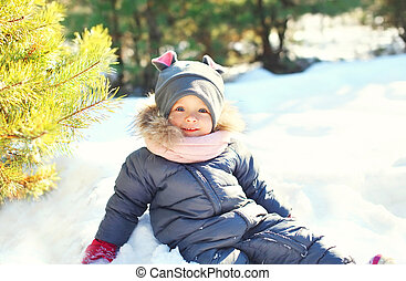 peu, hiver, séance, neige, jouer, enfant, jour, heureux