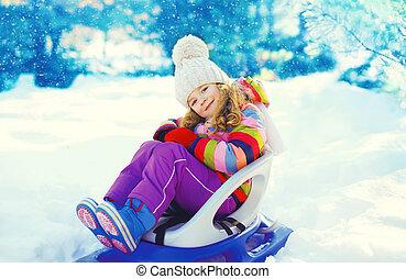 peu, hiver, séance, traîneau, enfant, sourire, jour