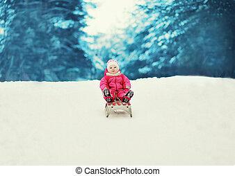 peu, hiver, sledding, enfant