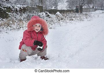 peu, hiver, snowball., rue, sculpts, girl