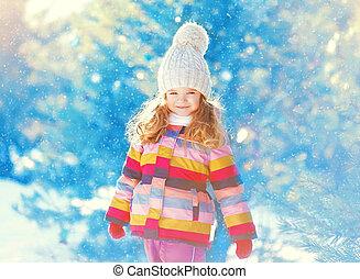 peu, hiver, sur, marche, neige, enfant, jour, heureux
