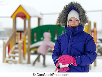 peu, hiver, time., portrait, girl, heureux