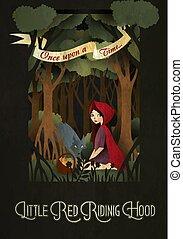 peu, illustration, conte, loup, capuchon, devant, équitation, fée, rouges, forêt
