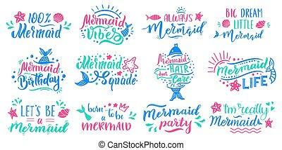 peu, illustration, inspirationnel, sirène, sirènes, lettrage, fée, marin, expressions, lettrage, vecteur, main, dessiné, mignon, océan, conte, quotes., ensemble