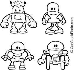 peu, illustration, robots