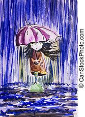 peu, image, girl, rainfall., triste, sous, déguenillé, ...