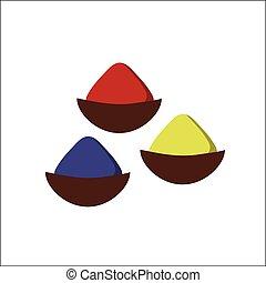peu, indien, assaisonnement, bols, bois, vecteur, épices