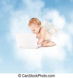 peu, informatique, ordinateur portable, ange
