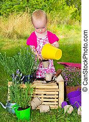 peu, jardin, empoter, haut, seedlings, girl