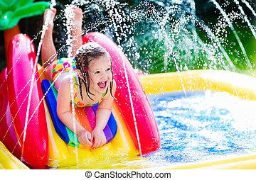 peu, jardin, gonflable, girl, mare jouant, natation