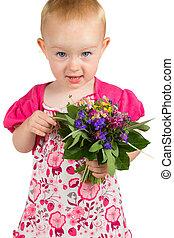 peu, jardin, jolie fille, fleurs, tas