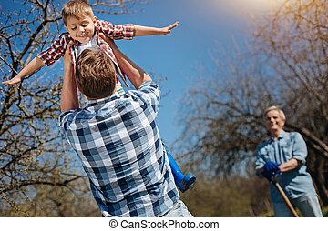 peu, jardin, père, fils, aérien, tenue