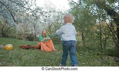 peu, jardin, temps, fils, bloomy, mère, avoir, heureux