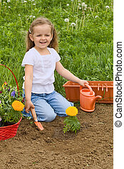 peu, jardinage, girl