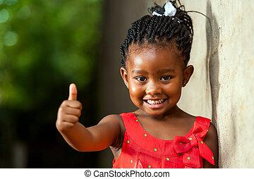peu, jolie fille, projection, africaine, pouces, haut.