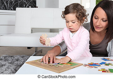 peu, jouer, girl, elle, mère