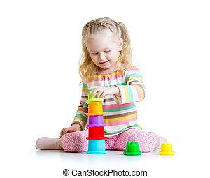 peu, jouer, girl, jouets