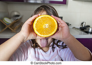 peu, jouer, orange, langue, girl, dehors