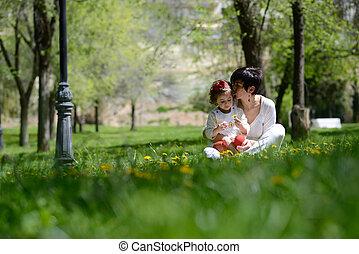 peu, jouer, parc, girl, mère