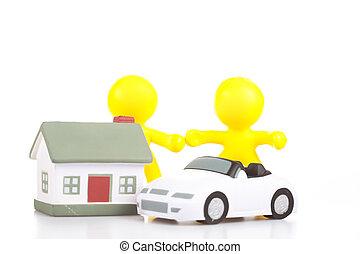 peu, jouet, famille, maison, hommes, deux, concept, voiture., stand, sourire, propriété