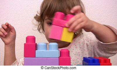 peu, jouet, girl, cubes
