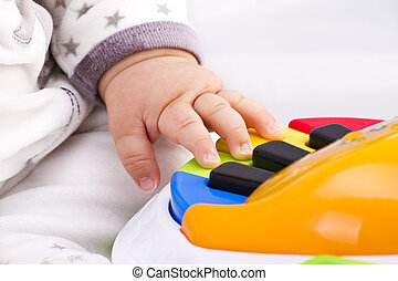 peu, jouet, jeux, coloré, main, piano bébé, pianiste