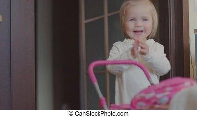 peu, jouet, jeux, maison, girl, landau