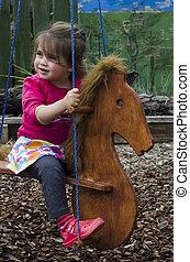 peu, jouet, promenades, cheval, girl