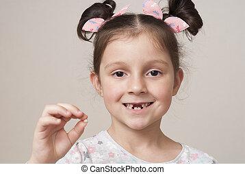 peu, lait, girl, dent