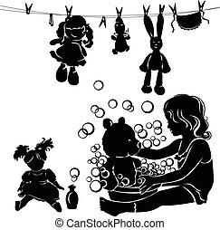 peu, lave, silhouette, girl, jouets