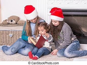 peu, lecture, noël, sister., sien, aîné, soeurs, histoire