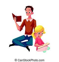 peu, lecture, séance, jeune, livres, traversé, girl, jambes,...