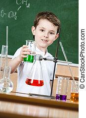 peu, liquide coloré, flacon, conique, chimiste, spectacles
