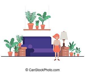 peu, livingroom, girl