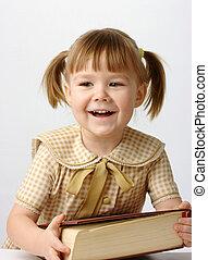 peu, livre, école, dos, girl, heureux