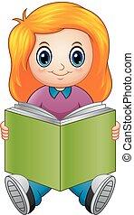 peu, livre, girl, dessin animé, lecture
