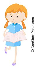 peu, livre, lecture, girl