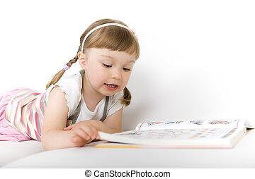 peu, livre, lecture, girl