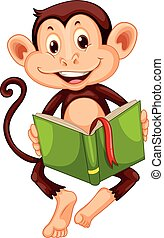 peu, livre, lecture, singe