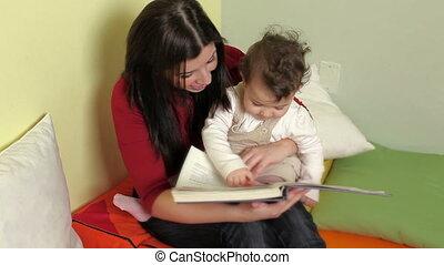 peu, livre, prof, femme, lecture, filles, séquence