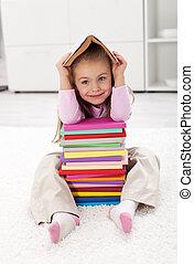 peu, livres, girl