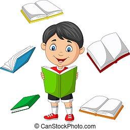 peu, livres, voler, garçon, entouré