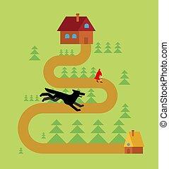 peu, loup, rouges, équitation, capuchon, forêt