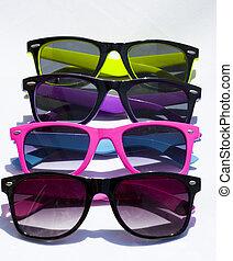 peu, lunettes, collorful, soleil