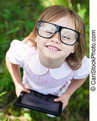 peu, lunettes, girl, tablette, numérique
