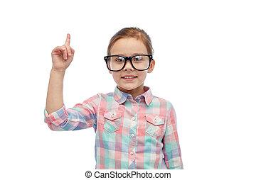 peu, lunettes, indiquer haut, doigt, girl, heureux